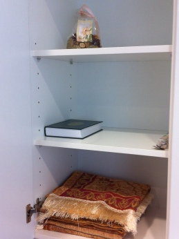 Closet for religious books and religious objects in a 'silent room' in a Spanish hospital