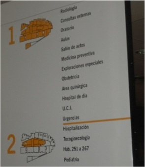 Poster with information of the location of the prayer room in a Spanish hospital